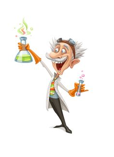 Mad Scientist Cartoon Character - Awesome Illustration!