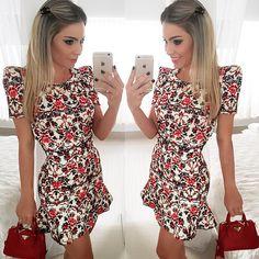 Encontre mais Vestidos Informações sobre Vestido de verão 2015 nova moda primavera mulheres vestuário vestido de casamento de verão estilo Casual bainha imprimir curto o pescoço mulheres vestido, de alta qualidade Vestidos de Vestidos de festa em Aliexpress.com