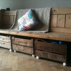 Luv it! Repurposed church pew & whiskey crates for storage. Have an old pew in kawa kawa waiting for me to pick up. So excited!!