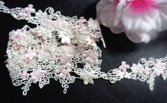 1 3/4 inches wide Light Pink Embroidered Flower Lace Trims 1 yard and 24 inch cut