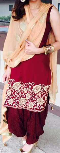 Machine Embroidered Pure Silk Crepe Suit in Maroon and Beige Color with Pure Chinon Chiffon Dupatta