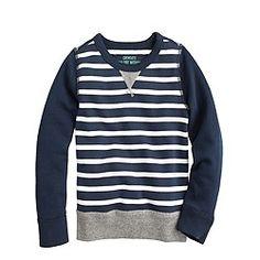 Boys' contrast-sleeve sweatshirt in stripe