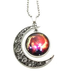 Galaxy moon and sun necklace Galaxy moon and sun necklace 18 inch chain Jewelry Necklaces