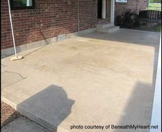 Back Patio Reveal how to make your cement patio look like tile Tile Patio Floor, Cement Patio, Patio Flooring, Cement Tiles, Concrete Backyard, Concrete Porch, Back Patio, Backyard Patio, Small Patio