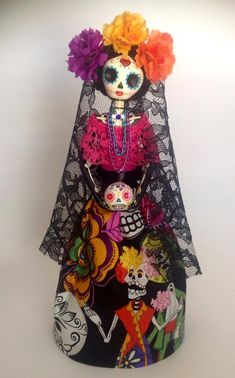 Reserved Lisiting for Tuan. Day of the Dead Mexican Catrina image 0 Diy Day Of The Dead, Day Of The Dead Artwork, Japanese Tattoo Symbols, Skull Illustration, Sugar Skull Art, Face Painting Designs, Origami, Mexican Art, Fairy Dolls