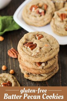 Gluten-free Butter Pecan Cookies are the best Fall treat! These simple cookies are made with pecans, brown sugar, cinnamon, and butterscotch chips for one killer flavor combination. Crispy edges and soft interior, make these gluten-free cookies the perfect texture too.