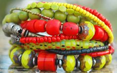 Red & Green Heart Charm Bracelet: Exotic Red, Chartreuse, Yellow, Silver and Iron Heart Artisan Charm Bracelet $195