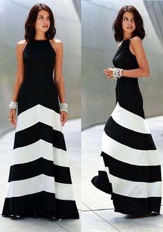 Vestido bloque del color de rayas cruzar la espalda cuello redondo sin mangas en blanco Y negro