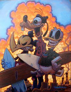 3 Amigos by Damian Fulton Mickey Mouse Goofy Canvas Fine Art Print – moodswingsonthenet Stretched Canvas Prints, Canvas Art Prints, Fine Art Prints, Arte Lowbrow, Arte Horror, Surf Art, Art Reproductions, Find Art, Illustration