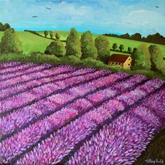 ARTFINDER: The Lavender Field by Tiffany Budd - An acrylic painting of a field of lavender completed in acrylic on a chunky canvas, so framing is not required.