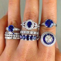 Sapphires galore for the September brides!  Tag someone who would love these and follow us on Instagram.  Visit our new website (link in bio).  {Contact us at info@erictrabert.com for details and pricing} ✨