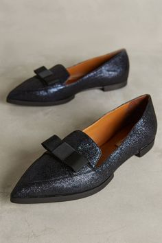 Head out for a night on the town in these glittery pointed loafers.