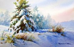 Snow Blanket , Original Roland Lee watercolor painting of Spruce tree in the snow - Watercolor Paintings by Roland Lee