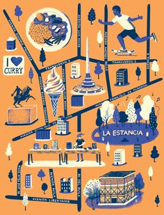 Mexico City Map for Computer Arts magazine - Daniel Gray Travel Illustration, Graphic Design Illustration, Draw Map, Mexico City Map, Building Map, Mental Map, Map Projects, Map Globe, Map Design