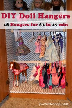 How to make 18 doll hangers in 15 minutes diy doll hangers Doll Clothes Hangers, Diy Clothes Rack, Sewing Doll Clothes, Crochet Doll Clothes, Closet Hangers, Diy Hangers, Barbie Clothes, Clothes Storage, Ropa American Girl