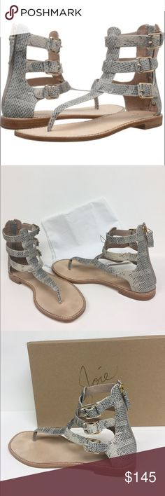 Joie Eri ivory side Buckle  zip back Sandals NIB Reel in the compliments this season in the on trend Joie Eri sandal. Leather upper. Back zip closure. Open toe. Thong style. Harness buckle details along shaft. Leather lining isnd insole. Mini stacked heel. Brand-new in box. Joie Shoes Sandals