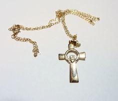 SALE...Vintage 14K Gold Claddagh Celtic Irish Cross Pendant