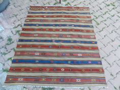 4'6 x 5'6 Vintage Turkish Kilim Rug,Handwoven Kilim Rug Flatweaving rug Tribal Rug,Embroidered Stripes Designs Blue Rug Kelim Rug