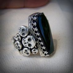 Ring of the Morrigan  a Coffin ring with green Rainbow obsidian set in sterling silver . by leespicedragon, via Flickr
