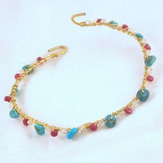 RAJA BRACELET - Opulent hammered gold fill bangle with faceted ruby and moonstone and smooth turquoise hand wired  - FREE shipping