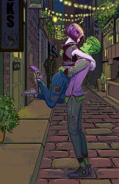 Beast Boy and Raven fan art print on paper Teen Titans Love, Original Teen Titans, Teen Titans Fanart, Dc Comics Art, Marvel Dc Comics, Beast Boy Raven, Bbrae, Couple Cartoon, Detective Comics