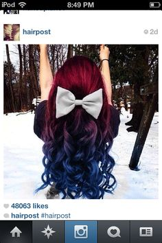 Red and blue hair streaks with a cute bow