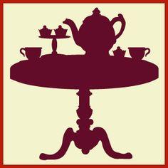 Silhouette tea party, silhouette art, family silhouette