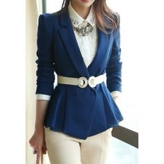Casual Style Solid Color Polyester Tailored Collar Long Sleeves Women's Blazer, BLUE, S in Blazers | DressLily.com