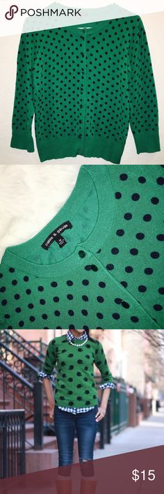 Cable & Gauge Polka Dot Sweaters for Women Classy Polka Dot CABLE & GAUGE Size M Cardigan Sweater Button Front 3/4 Sleeves NWT Cable & Gauge Sweaters Cardigans