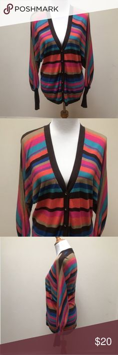 Trina Turk Sweater Cardigan Trina Turk Sweater Cardigan Multi-Color Striped Button Front No stains or rips.  Light pilings, please refer to picture. Overall still in good condition. Measurements approximate:  (Garment is lying flat and unstretched) Armpit to Armpit: 20.5', Sleeve from top: 30.5', Sleeve Inseam: 21', Length: 27' Trina Turk Sweaters Cardigans