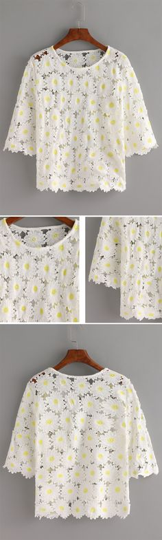 White Crochet Chrysanthemum Hollow Out Lace Blouse