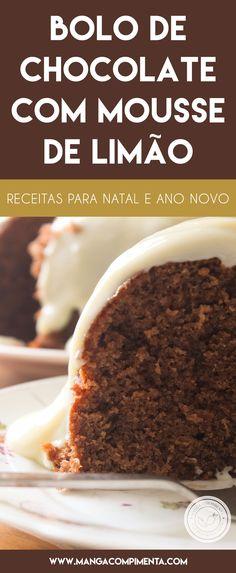 Receita de Bolo de Chocolate com Mousse de Limão - um agrado delicioso para o Natal ou Ano Novo. #receitas #natal #anonovo