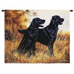 Black Labrador Retriever Dogs Art Tapestry Wall Hanging