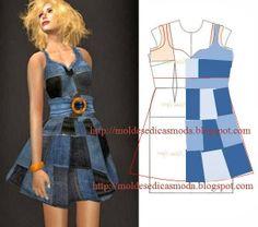 denim dress w/ patching diagram
