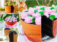 flower pot cake-great for gardening club meetings
