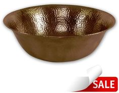 "Houzer HW-SIEV Hammerwerks 16"" Hammered Copper Vessel Bathroom Sink Antique Copper Fixture Lavatory Sink Copper"