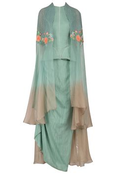 Blue ombre floral embroidered cape with peplum corset and drape skirt available only at Pernia's Pop Up Shop.