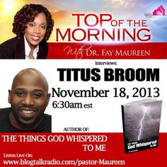 Join Author Titus Broom on Top of the Morning