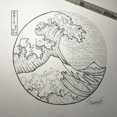 Tatto ideas 2017 the great wave off kanagawa circle tattoo . Art Sketches, Art Drawings, Pencil Drawings, Kreis Tattoo, Wave Drawing, Sea Drawing, Circle Drawing, Kunst Tattoos, Great Wave Off Kanagawa