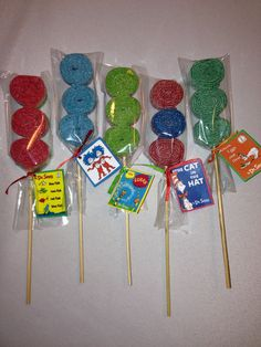 Dr. Suess Candy Kabobs.  So Fun, I want to use as camp invitations.