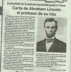 Frases Positivas:  Carta De Abraham Lincoln al profesor de su hijo - https://alegrar.me/frases-positivas-carta-abraham-lincoln-al-profesor-hijo/