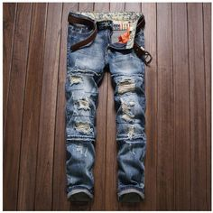 New Ripped Jeans for Men Hole Jeans Slim Straight Washed Pants Casual Denim Blue Destroyed Trousers Biker Jean Size 29-38 #Affiliate