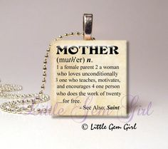Mother Mom Necklace Charm - Dictionary Definition Mom Quote Pendant Mothers Day Jewelry - Antique Style or Black White 1 inch Wood Tile on Etsy, $8.00