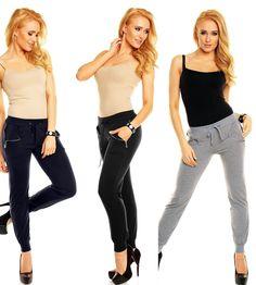 Damen Yogahose Zipper Fitnesshose Freizeit Hüfthose Jogginhose Hose36-42