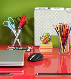 Kids' Organization:   Keep homework and school papers organized with a simple filing system. Standing files with tabbed dividers sort paper by subject or activity, making it easy to separate classes from extracurriculars.