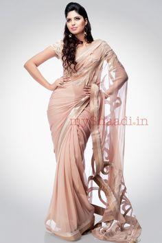 Nude Sari...Love it! by Satya Paul
