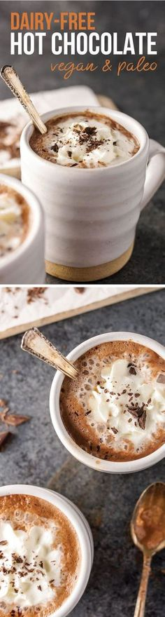 This healthy Dairy-Free Hot Chocolate is fast and easy to prepare, using just 3 ingredients-- almond milk, cocoa powder, and pure maple syrup. Paleo & Vegan friendly!