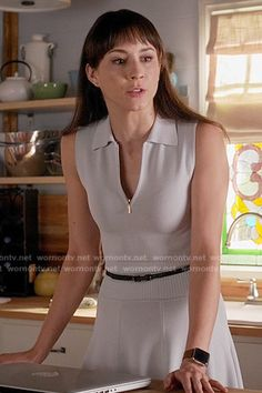 Spencer's grey zip-neck polo dress on Pretty Little Liars. Outfit Details: https://wornontv.net/56103/ #PLL
