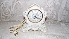 Vintage Sessions Porcelain Floral Roses Design Mantel Electric Clock USA by FabulousFinds1 on Etsy