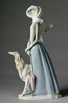 LLADRO Porcelain Figurine of Lady & Dog, signed Lladro Made in Spain;